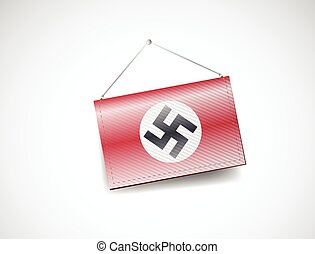 alemán, nazi, esvástica, bandera, señal