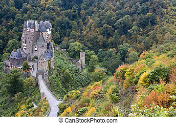 alemán, otoño, castillo, antiguo