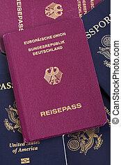 alemán, pasaportes, pila, pasaporte