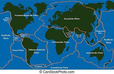 alemán, placa, tectonics, faultlines
