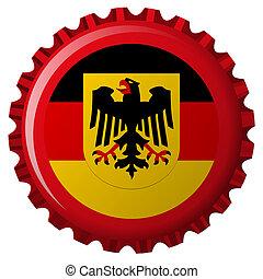 alemán, popular, bandera, encima, tapa de botella