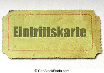 alemán, ticket:, amarillo