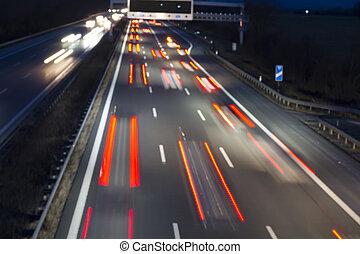 alemán, tráfico, carretera, noche