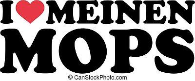 alemão, amor, pug, meu