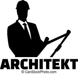 alemão, arquiteta, trabalho, silueta, título