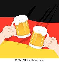 alemão, assalte, mãos, brindar