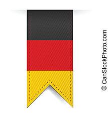 alemão, bandeira, bandeira, desenho, ilustração