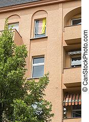 alemão, berlim, bandeira alemanha, janela