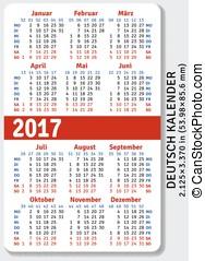 alemão, bolso, calendário, 2017