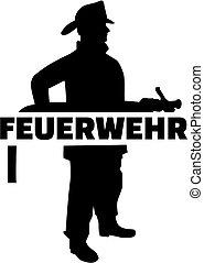 alemão, bombeiro, trabalho, silueta, título