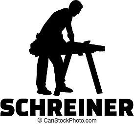 alemão, cabinetmaker, trabalho, silueta, título