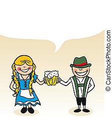 alemão, caricatura, par, bolha, diálogo