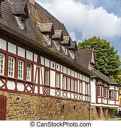 alemão, casa, koblenz, helf-timbered, tradicional