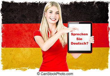 alemão, conceito, língua, aprendizagem