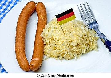 alemão, deli, linguiça, sauerkraut