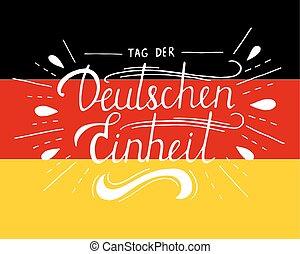 alemão, der, einheit., unidade, tag, deutschen, lettering., dia