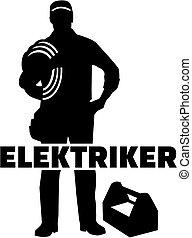 alemão, eletricista, trabalho, silueta, título