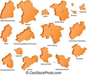 alemão, estados, ícones
