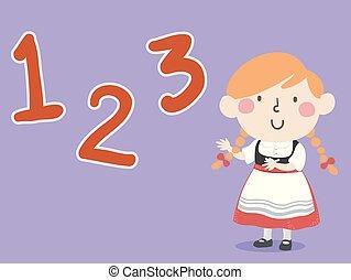 alemão, ilustração, 123, números, menina, criança