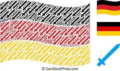 alemão, itens, waving, colagem, bandeira, espada