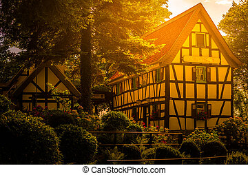 alemão, konigswinter, tradicional, casa, bonn, germany.