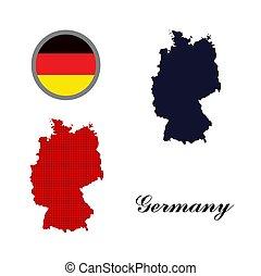 alemão, mapa, bandeira, vetorial, alemanha