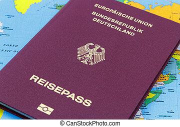 alemão, mapa, passaporte, mundo