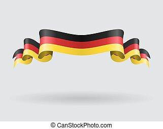 alemão, ondulado, bandeira, illustration.