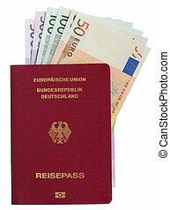alemão, passagem, com, euro notas, sobre, fundo branco