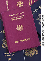 alemão, passaporte, ligado, passaportes, pilha