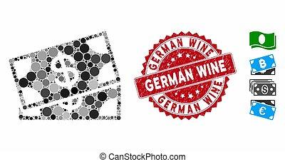 alemão, selo, ícone, textured, notas, vinho, colagem