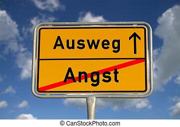 alemão, sinal, maneira, medo, estrada, saída