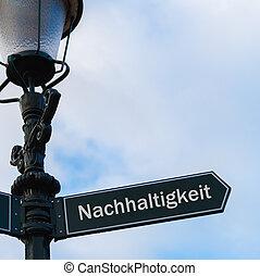 alemão, sustainability, nachhaltigkeit, -, sinal