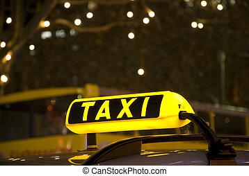 alemão, táxi amarelo, sinal, à noite, com, luzes