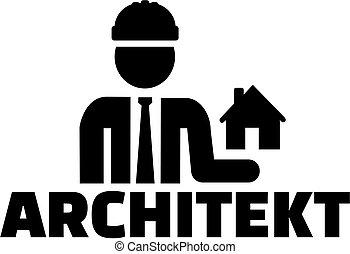 alemão, trabalho, ícone, arquiteta, título