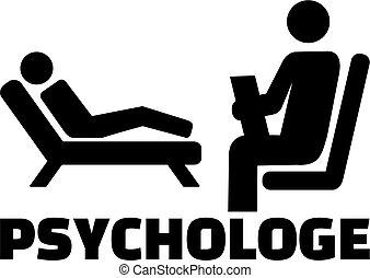 alemão, trabalho, ícone, psicólogo, título