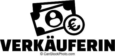 alemão, trabalho, ícone, saleswoman, título