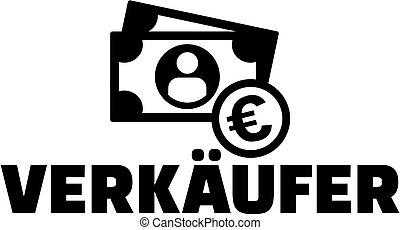 alemão, trabalho, ícone, vendedor, título