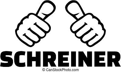 alemão, trabalho, cabinetmaker, polegares, título