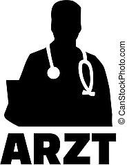 alemão, trabalho, doutor, silueta, título