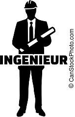 alemão, trabalho, engenheiro, silueta, título