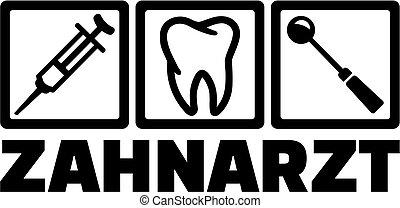 alemão, trabalho, ferramentas, odontólogo, título