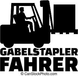 alemão, trabalho, forklift, motorista, título