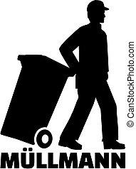 alemão, trabalho, homem, lixo, título