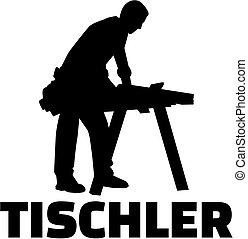 alemão, trabalho, joiner, silueta, título