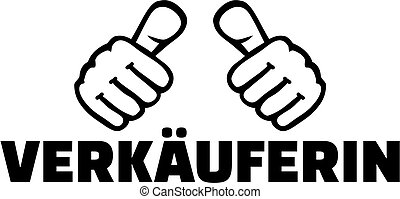 alemão, trabalho, saleswoman, polegares, título