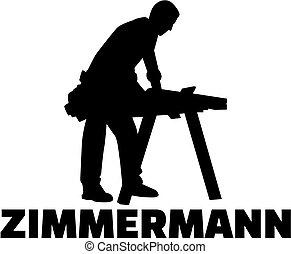 alemão, trabalho, silueta, carpinteiro, título