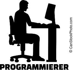 alemão, trabalho, silueta, programador, título