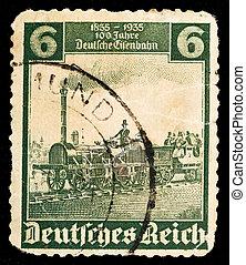 alemão, vindima, selo postal