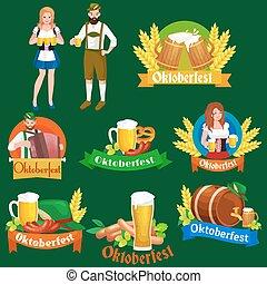 alemanha, cerveja, festival, oktoberfest, bavarian, cerveja, em, copo assalta, tradicional, partido, celebração, vetorial, ilustração